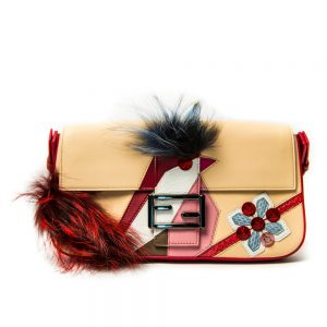 Fendi Single Bird Leather & Fur Baguette