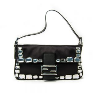 Fendi Black Satin Crystal Bag