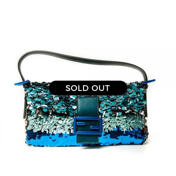 Fendi Baguette Paillette-Embellished Shoulder Bag
